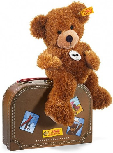 Retired Steiff Bears - HANNES TEDDY BEAR IN SUITCASE GOLDEN BROWN 28CM