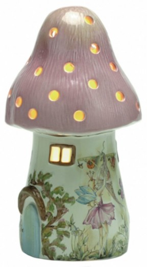 White Rabbit Dewdrop Toadstool Nightlight Pink