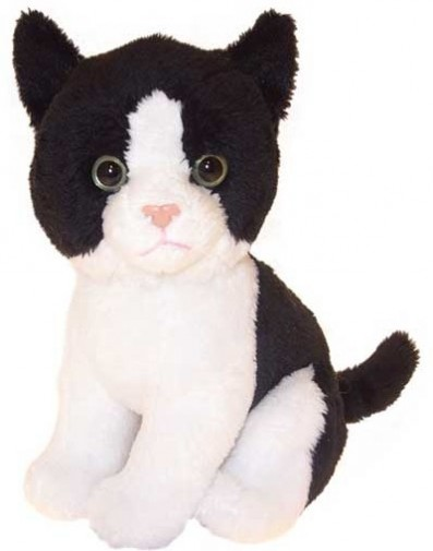 Cats - BLACK & WHITE SOFT TOY CAT 17CM