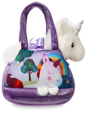 Retired Aurora - FANCY PALS HARMONY UNICORN IN PURPLE HANDBAG 20CM