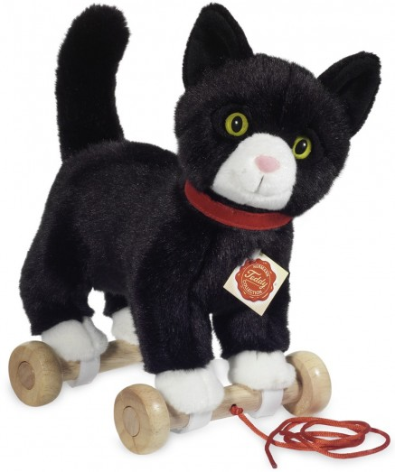 Retired Hermann Teddy - PULL-ALONG CAT ON WHEELS 26CM