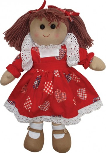 More Ragdolls - RAG DOLL WITH LOVE HEART DRESS 40CM