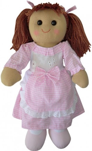 Retired Bears and Animals - RAG DOLL WITH PINK GINGHAM APRON 40CM