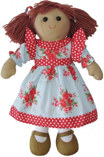 Retired Bears and Animals - RAG DOLL WITH RED ROSE DRESS 40CM