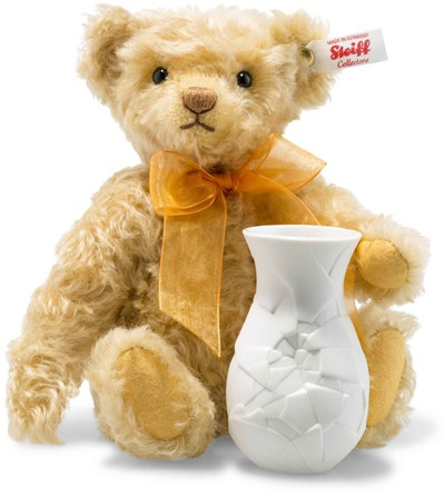 Retired Steiff Bears - SUNFLOWER TEDDY BEAR WITH VASE 24CM