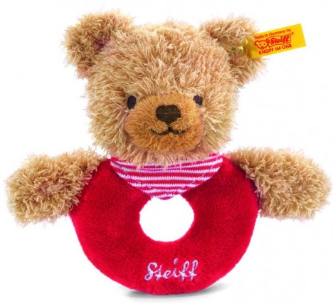 Retired Steiff Bears - SLEEP WELL BEAR GRIP TOY RED