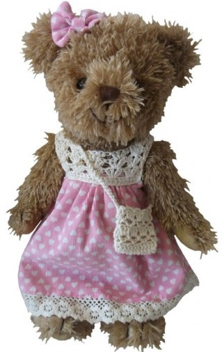 Teddy Bears - TEDDY BEAR IN PINK DRESS 30CM